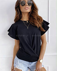Женская модная черная футболка