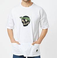 Мужская футболка летняя с черепом белая Турция. Живое фото. Топ качество