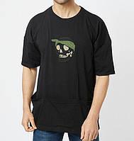 Мужская футболка летняя с черепом черная Турция. Живое фото. Топ качество