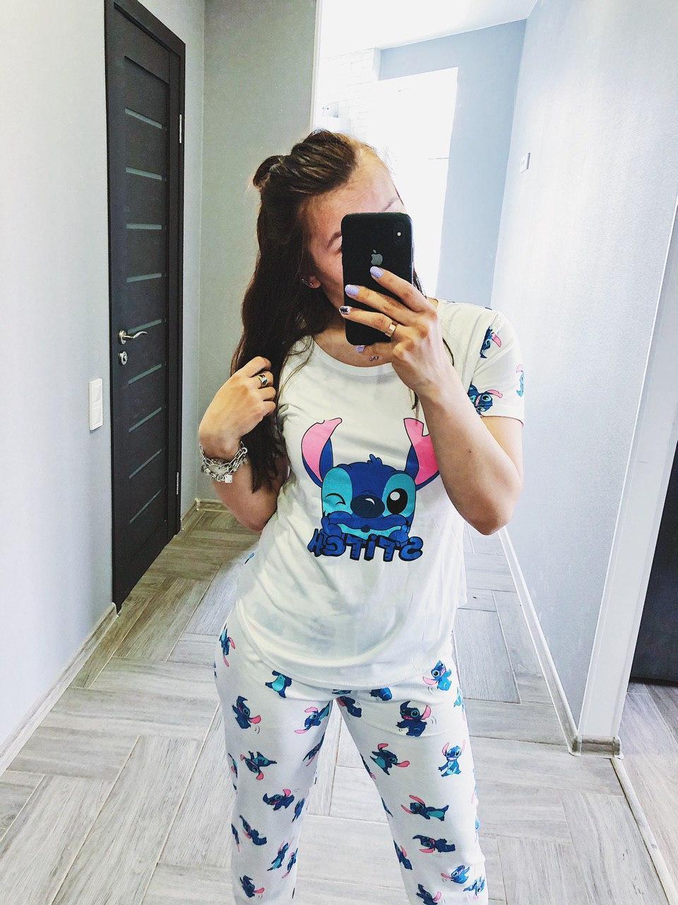 Пижама Трикотажная женская Футболка и  штаны  Стич Белого цвета