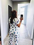 Пижама Трикотажная женская Футболка и  штаны  Стич Белого цвета, фото 2