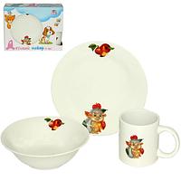 """Детский набор посуды """"Ёжик"""" (тарелка, миска, чашка)"""