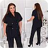 Стильный летний деловой брючный костюм женский с жакетом на короткий рукав, батал большие размеры, фото 7