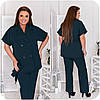 Стильный летний деловой брючный костюм женский с жакетом на короткий рукав, батал большие размеры, фото 9