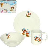 """Детский набор посуды """"Друзья"""" (тарелка, миска, чашка)"""