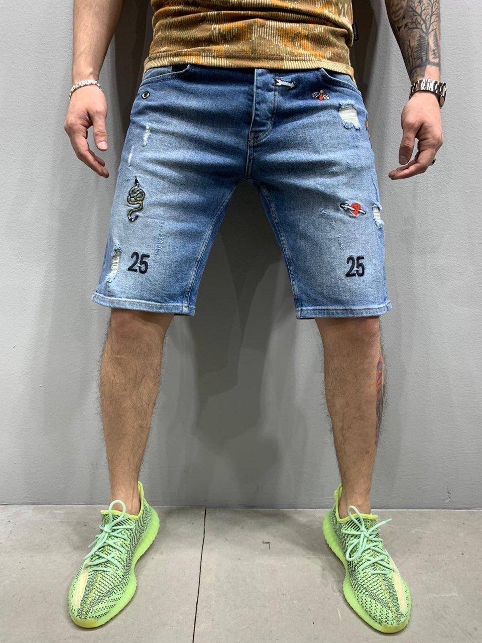 😜 Шорты - Мужские стильные (голубые) шорты c нашивками