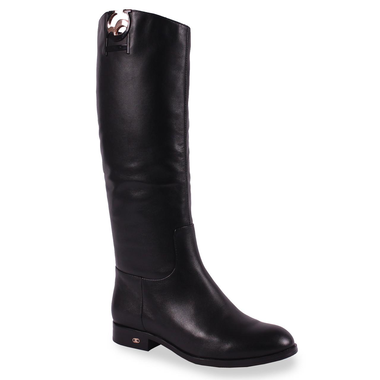 Женские сапоги Basconi (кожаные, черные, зимние, теплые, влагостойкие, без каблука)