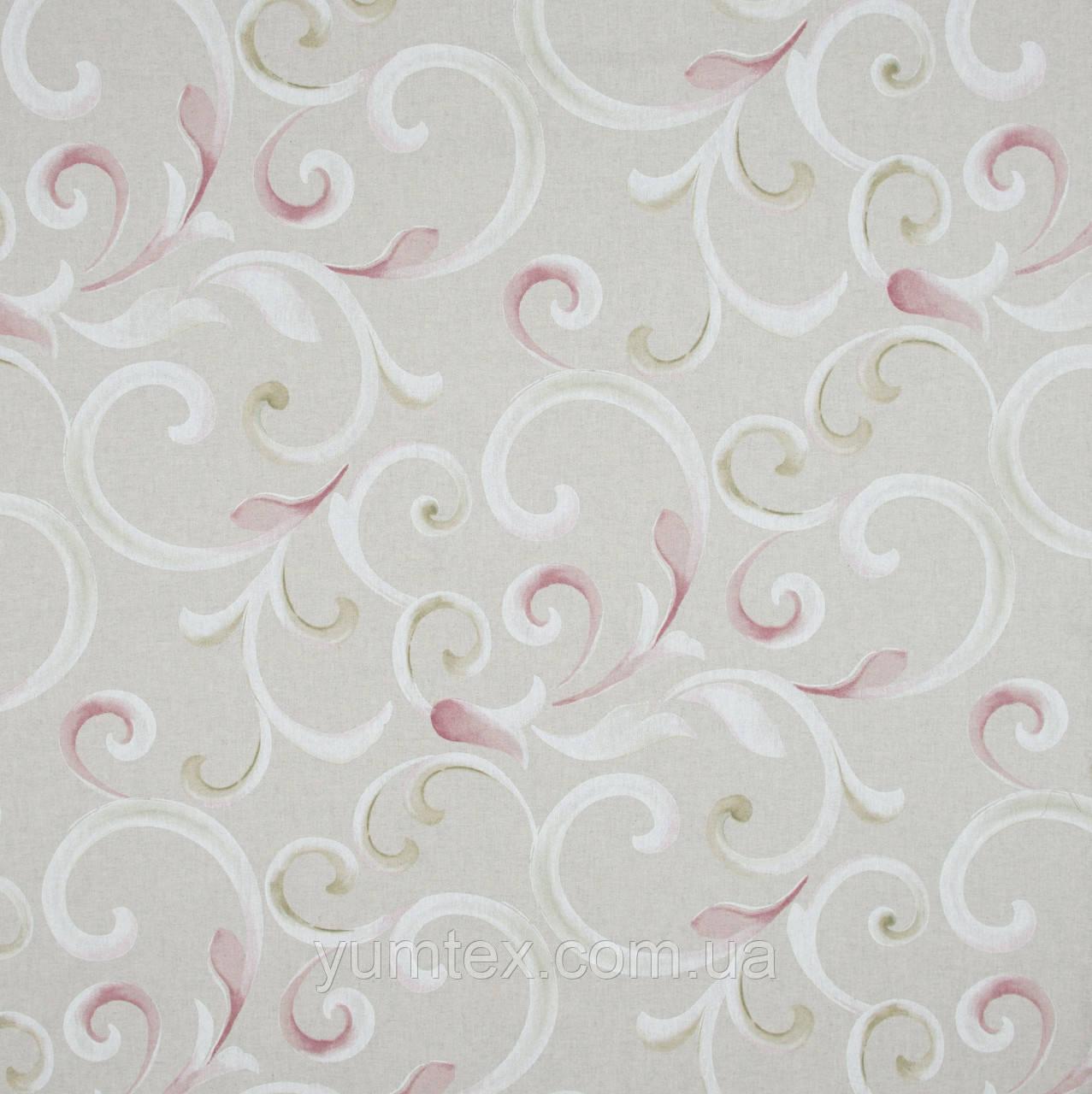 Декоративная ткань Петерс завиток фрезово-оливковый