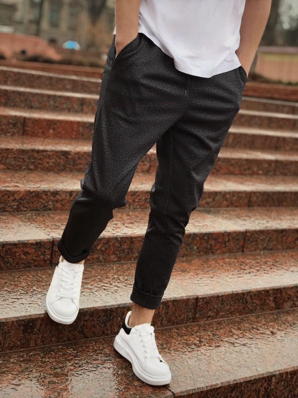 😉 Штани Чоловічі зауженые сірі штани широкого фасону