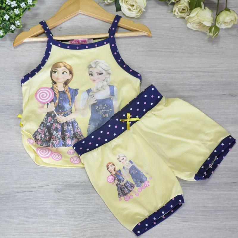 Летний костюм с ярким принтом , трикотаж , для девочек от 3-9 лет (5 ед. в уп.)