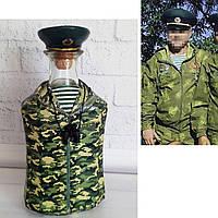 Стилізована пляшка під форму прикордонника по фотографії замовника. Сувеніри військової тематики, фото 1