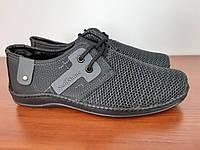 Туфлі мокасини чоловічі літні сірі сітка прошиті зручні (код 2511), фото 1