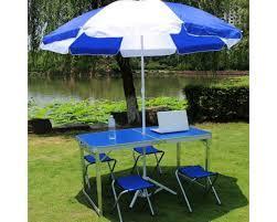 Столик для пикника + 4 стула (Чемодан)- Синий