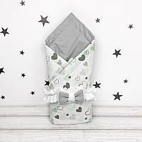 Летний конверт плед на выписку для новорожденного Oh My Kids Серо-мятные сердечки