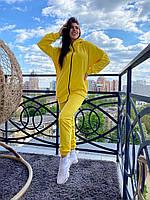 Жіночий спортивний костюм CAB жовтий, XS-4XL / женский спортивный костюм кофта на молнии+брюки желтый