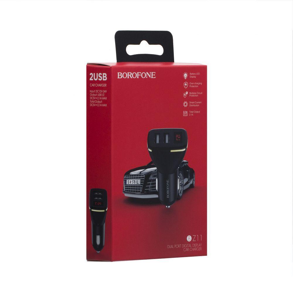Автомобильное зарядное устройство Borofone BZ11 Digital Display (2USB, 2.1A, черное)