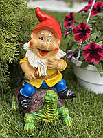 Фигура садовая скульптура гипсовая Гном на черепахе, 30 см