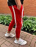 Спортивні штани Чоловічі спортивні штани червоні з білими смужками, фото 3