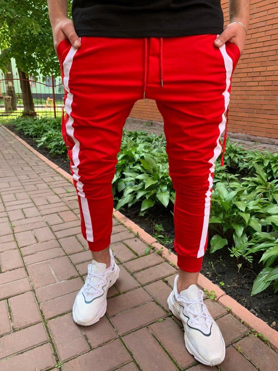 Спортивні штани Чоловічі спортивні штани червоні з білими смужками