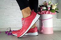 Женские кроссовки кожаные весна/осень красные Onward 222