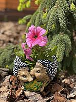 Фигура садовая кашпо цветочное Ежи, 13 см, фото 1