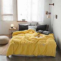 Плюшевое постельное белье микрофибра Homytex Евро размер Однотонное жёлтое  полоска