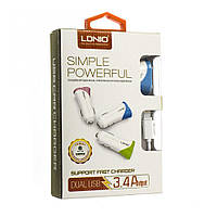 Автомобильное зарядное устройство LDNIO DL-C332 с кабелем Lightning (2USB, 3.4A, белое)