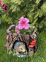 Кашпо фигура садовая для цветов Еж в пеньке, 16 на 23 см