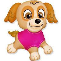 Фольгированный мини-шар щенок в розовом (Flexmetal)