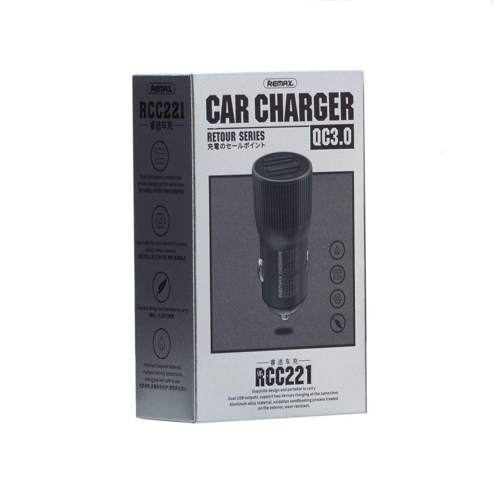 Автомобільний зарядний пристрій Remax RCC-221 (Quick Charge 3.0, 2USB, 2.4 A, сіре)