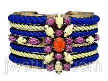 SHOUROUK винтажный женский широкий браслет с разноцветными камнями