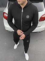 Мужской черный спортивный костюм с капюшоном Philipp Plein (реплика)