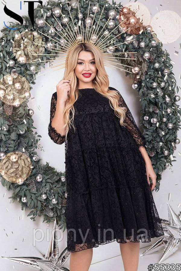 Женское Стильное Платье свободного кроя Батал