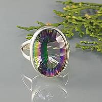 Кольцо мистик топаз серебро женский перстень серебряный натуральный камень