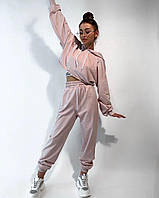 Спортивный женский оверсайз костюм худи с капюшоном брюки розовый пудра / укорочене худі з капюшоном штани