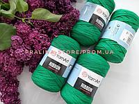 Трикотажная пряжа YarnArt Ribbon Ярнарт Риббон зеленого цвета