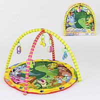 Детский игровой развивающий коврик круглой формы для младенцев 814, 5 подвесных погремушек, в сумке желтый