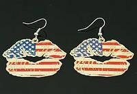 Серьги с орнаментом - Флаг США