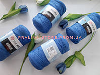Трикотажная пряжа YarnArt Ribbon Ярнарт Риббон синего цвета
