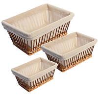 Корзины для хлеба с тканью прямоуг 3пр/наб 26*19см