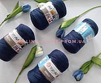 Трикотажная пряжа YarnArt Ribbon Ярнарт Риббон темно синего цвета