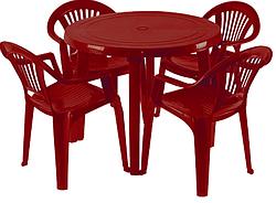 Пластиковая мебель, стол круглый и 4 стула Луч