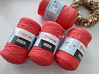 Трикотажная пряжа YarnArt Ribbon Ярнарт Риббон кораллового цвета