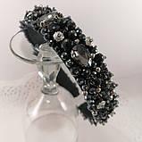 Черный широкий Обруч ободок для волос с хрустальными бусинами, фото 10