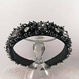 Черный широкий Обруч ободок для волос с хрустальными бусинами, фото 6