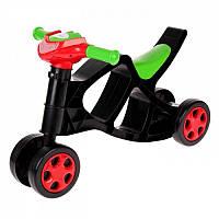 Детский мотоцикл-каталка пластиковый Doloni Toys беговел без звука, черный, для детей от 1 года