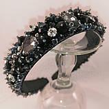 Черный широкий Обруч ободок для волос с хрустальными бусинами, фото 7