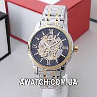 Мужские механические наручные часы Megalith 8205 / Мегалайт на металлическом браслете комбинированного цвета