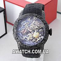 Мужские кварцевые наручные часы Megalith 8041 / Мегалайт на каучуковом ремешке черного цвета