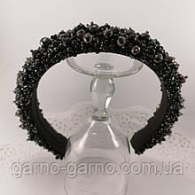 Черный широкий объемный высокий обруч ободок для волос с хрустальными бусинами стильный трендовый